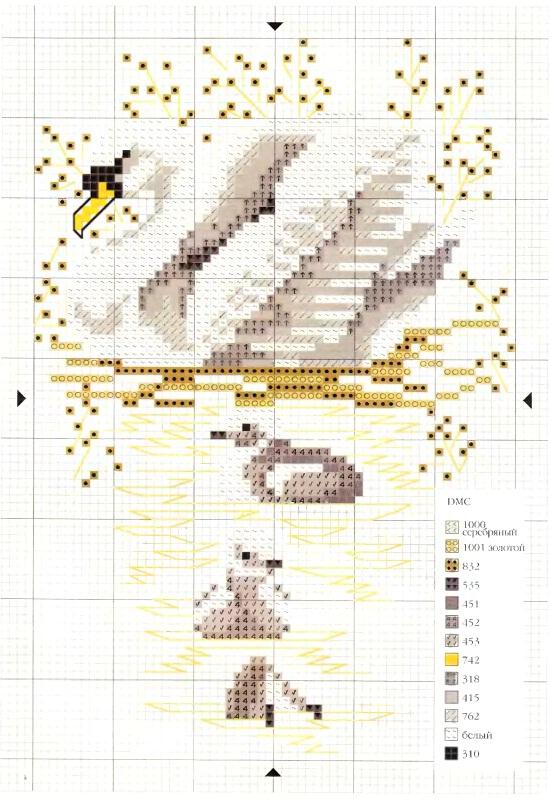 Набор с лебедями для туалетного столика схема