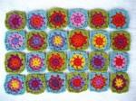 Многоцветные квадраты для пледа