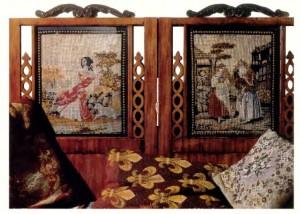 Шитые обои и подушки из бисера